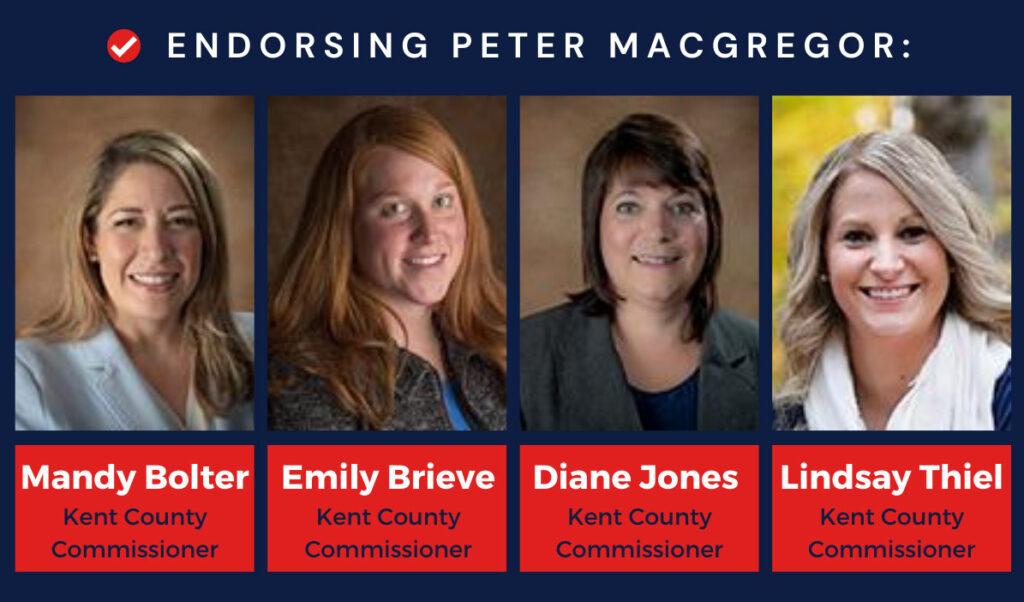 Kent County Commissioner endorsement banner for Peter MacGregor